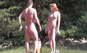 Naked Ginger and blonde beach babes
