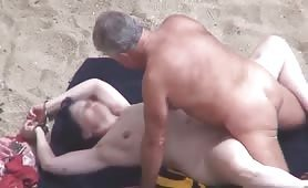 Old couple fucking on beach